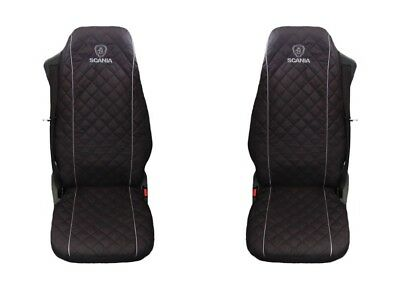 SCANIA Truck Seat Covers 2 piece (1+1)BLACK WITH GREY piping