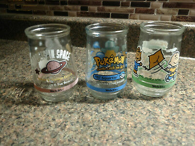 Lot 3 Vintage Welch's Jelly Jar Glasses Peanuts Pokemon Muppets in Space Vintage