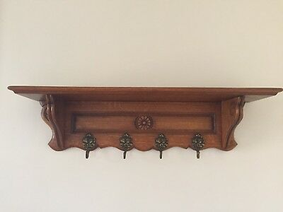 Antique French Oak Wall Shelf - Coat & Hat Rack - Excellent Condition