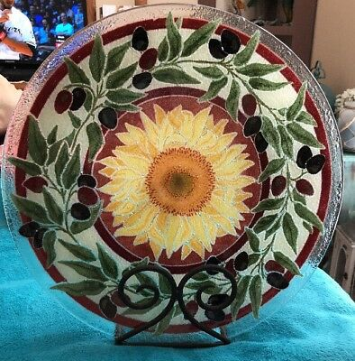 """Peggy Karr Tuscany Sunflower & Olives Art Glass 13 5/8"""" Dish Signed W/Stand"""