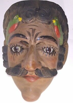 Vintage Guatemalan. Hand Carving Wood dance Mask Conquest Dancing Glass eyes