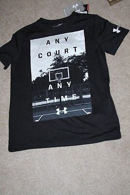 NEW Boys UNDER ARMOUR dri fit t shirt size small basketball black