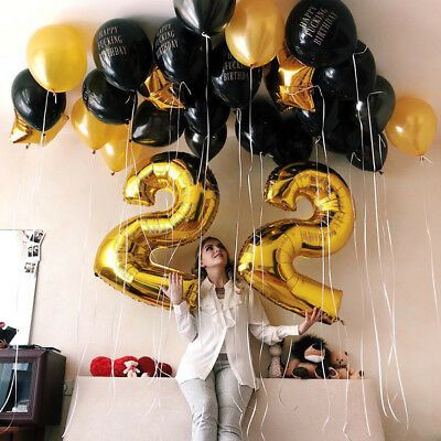 """40"""" Giant Foil 0-9 Number Air Helium Glitz Large Balloons Birthday Party Wedding"""