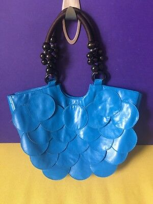 REDUCED funky retro 60s style blue shopper shoulder hand bag beaded handle