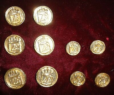 """Vintage TEN Brass Crested Buttons (6) .875"""" (4) .375"""" diameters 1980's"""