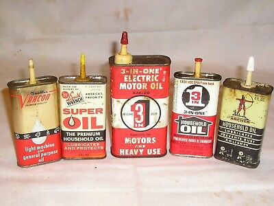 Lot of (5) Vintage Household Oil Cans - Varcon, Liquid Wrench, 3-in-1, Archer