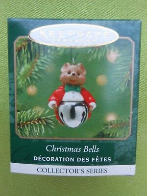 HALLMARK 2001 Christmas Bells MOUSE Series#7 MINIATURE CHRISTMAS ORNAMENT-NIB+pt