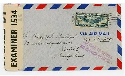 USA to Switzerand 1942, Censored in Bermuda and USA, Return to Sender No Service