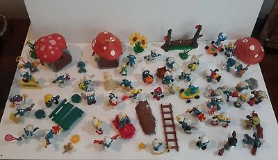 """70 Vintage Smurf's-2"""" Size-All Different 1969 1978 1982-Portugal & Hong Kong"""