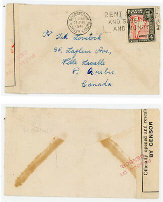 British Guiana 1941 WWII Censored Cover to Canada, Rare Label and Mark!