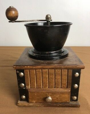 Vintage Wooden Coffee Grinder With Manual Hand Crank Mill & Drawer