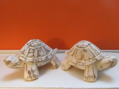 """Pottery Barn Wood White Washed Turtle Salt & Pepper Shakers 5"""" Long X 2 3/4"""" Tal"""