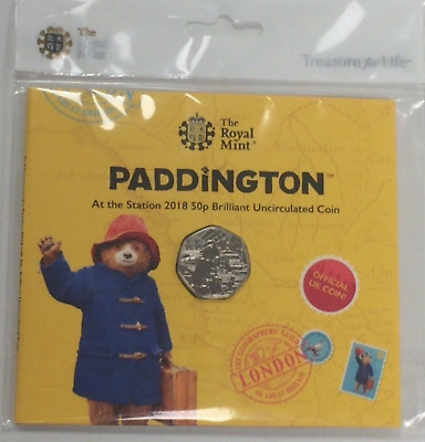 2018 PADDINGTON BEAR IN STATION 50P Brilliant Uncirculated Coin Royal Mint Pack
