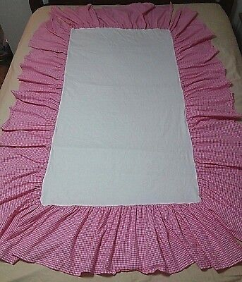 Pottery Barn Kids Gingham Check Dust Ruffle Crib Baby Nursery Bed Skirt Pink