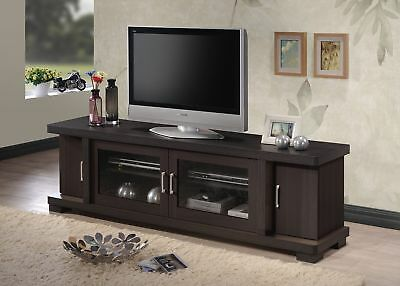 Baxton Contemporary 70 Dark Brown Wood Tv Stand Cabinet 2 Gl Door Storage