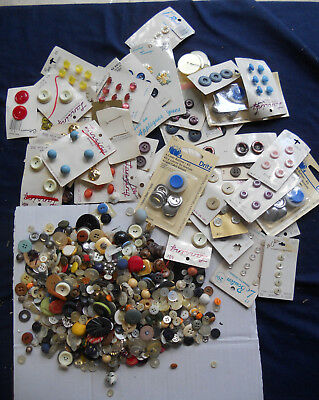 Antique Vintage Button Lot About 1.5 Lbs Some Carded Used & Nos