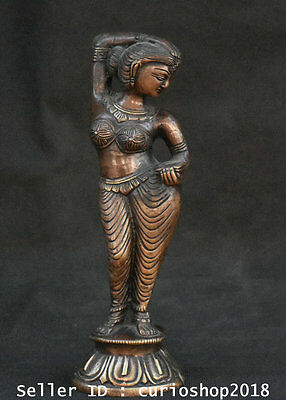 """9.2"""" Old China Bronze Dynasty Stand Beauty Belle Girl Figure Statue Sculpture"""