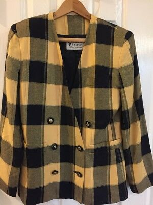 Ladies Stirling Cooper Plaid Yellow Navy Blue Double Breasted Blazer Sz 4
