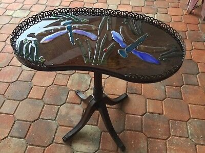 ANTIQUE WOOD Mosaic STAINED GLASS Dragonfly Wood Accent Table
