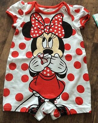 Baby Minnie Mouse Bodysuit. Size 6-9Months. BNWT. Baby Disney.