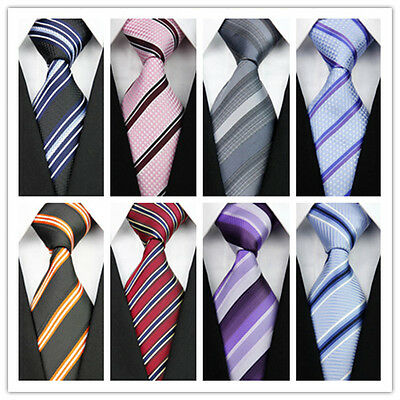 Tie Men's Silk Necktie Classic Black Solid Striped Business JACQUARD WOVEN 2018