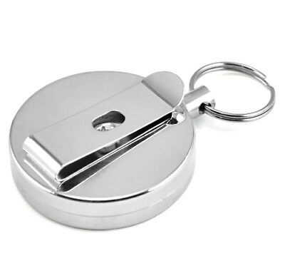 Silver Retracting Extendable Metal Key Chain Recoil Keyring Heavy Duty Cord Wire