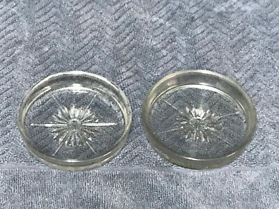 "Vintage Pair Of Glass Coasters, Star Pattern,  3 1/4"" In Diameter, 5/8"" Deep"