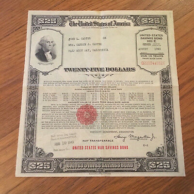 UNITED STATES DEFENSE War Savings Bond Series E $25.00 August 1943