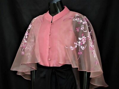 ae7393e590 Modern FILIPINIANA Silk CAPE BLOUSE BARONG Philippine National Costume -  Pink