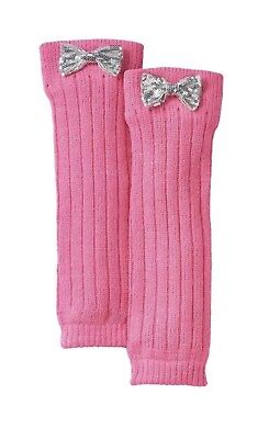 Sequin Bow Knit Leg Warmers Girls PINK One Size acrylic New