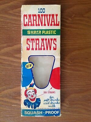 Vintage Carnival Scoopy Clown King Size Soda Drinking Straws ORIGINAL BOX Only