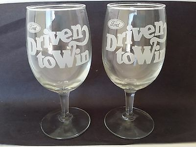 RARE Vintage FORD AUTOMOBILES DRIVEN TO WIN WINE GLASSES GLASS DEALERSHIP 1970s