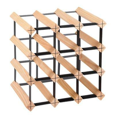 12 Bottle Wine Rack Holder Pine Wood Storage Organise Display Shelf Bar 4 Tier
