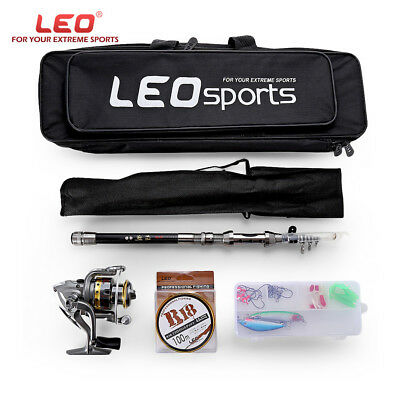 LEO Fishing Spinning Reel Rod Kit Set With 100m Fish Line Lures Hooks Bag New US