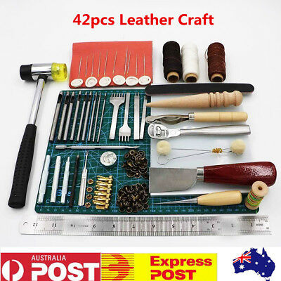 42pcs Leather Craft Sewing Punch Tool Kit Set Carving Working Stitching
