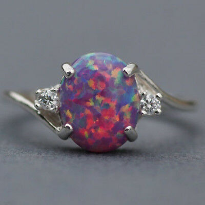 Vintage Women 2.3Ct Fire Opal 925 Silver Ring  Wedding Party Gemstone Engagement