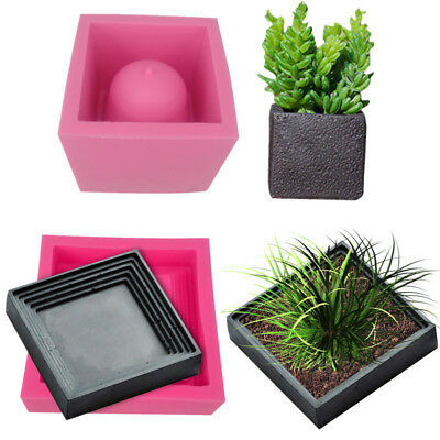 DIY Cement Flower Pot Silicone Mold Crafts Succulent Plants Concrete Vase Molds