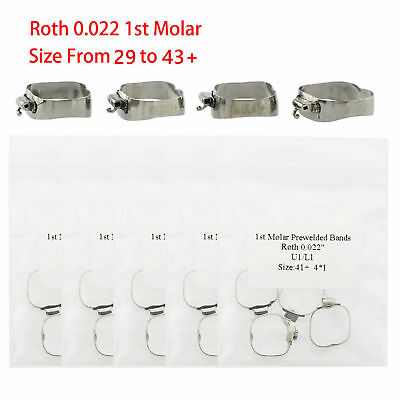 Dental Orthodontic Roth 022 1st Molar Buccal Tube Prewelded Bands U1/L1 29 To43+