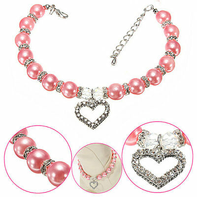 Beauty Rhinestones Pearls Love Pet Dog Cat Collar Puppy Necklace Accessories