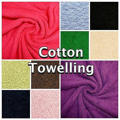 Plain Colour Cotton Soft Double Sided Terry Towelling Towel Craft Fabric