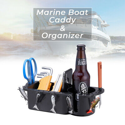 White Marine Storage Caddy Boat Tackle Drink Cup Holder Phone Bait Holder