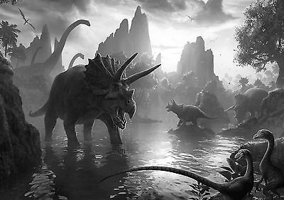 Dinosaur Large Poster Art Print Black & White Card or Canvas