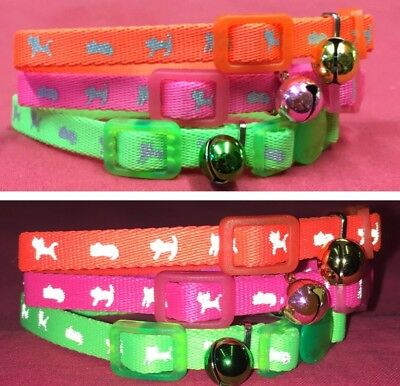 """3 Kitten Collar 6-8"""" Reflective Adjustable PINK Quick Release Safety Buckle Bell"""