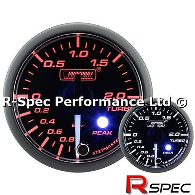 Prosport 52mm Premium / Peak Clear Lens / White Needle Turbo Boost Gauge - Bar