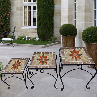 Set of 3 Mosaic Flowers Stool Garden Table Seat Furniture Decoration Plant Tray