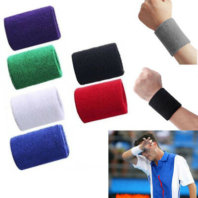 2 Unisex Sports Wrist Sweat Bands Cotton Wristbands Fitness Sweatband Gym Tennis