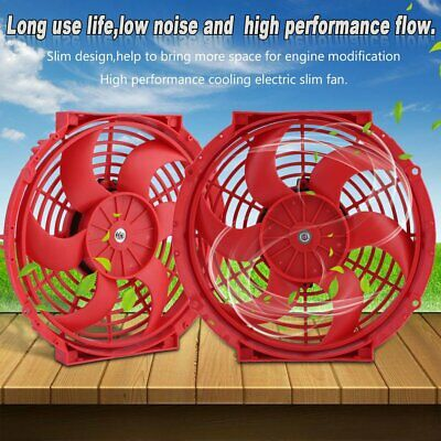 "2 X 12/"" Red Electric Slim Push Pull Engine Bay Cooling Radiator Fan Universal 1"