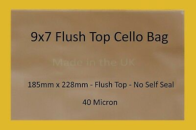 """9"""" x 7"""" Flush Top Clear Cello Display Bags - Cellophane Display Bags"""