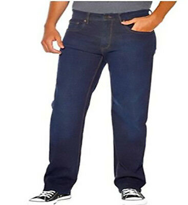 Urban star men's relaxed fit straight leg stretch jeans