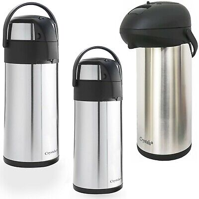 S/S Air Pot Vaccum Thermos Flask Outdoor Office Hot/Cold Drink 3-5 Ltrs